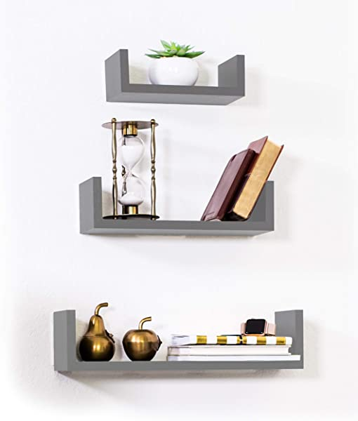 Adorn Home Essentials Floating Shelves Set Of 3 With Modern U Shape And Durable Design Simple Hanging Kit Included Gray