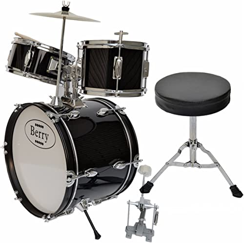 artículos de promoción Berry Toys Complete Kids Large Drum Drum Drum Set with Cymbal, Stool and Sticks, negro by Berry Toys  tiempo libre