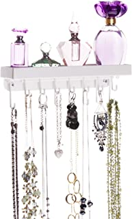 Angelynn's Jewelry Organizer Wall Mount Hanging Slim Necklace Holder Bracelet Hooks Closet Storage Rack Tray, Fiona White