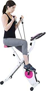 Xspec Upright Exercise Bike with Resistance Bands, Pink