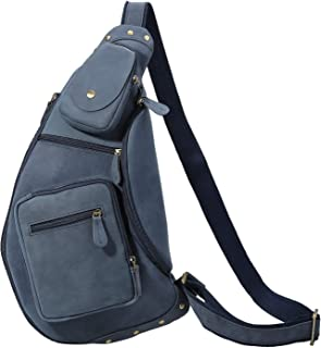 Polare Cool Real Leather Cross Body Sling Bag Chest Bag Backpack Large (Blue)