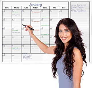 """Delane Jumbo Wet or Dry Erase Monthly Wall Calendar – Undated Office Wall Planner – Erasable Whiteboard with Calendar Month and Notes – Easy Mount Adhesive Foam Strips Included, 24 x 36"""""""