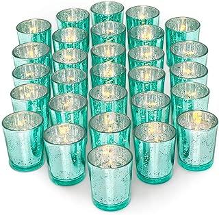 Letine Glass Votive Candle Holders Set of 36 - Speckled Mercury Aquamarine Candle Holder Bulk - Ideal for Wedding Centerpieces & Home Decor