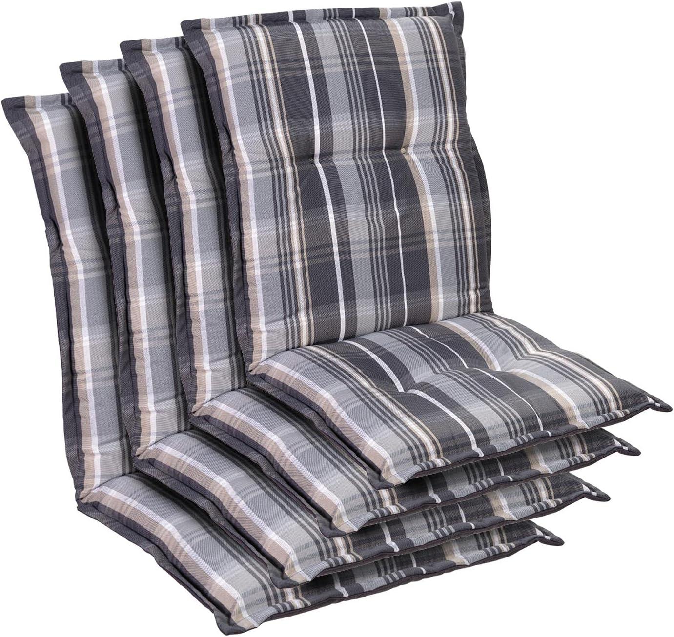 Homeoutfit24 Prato - Cojín Acolchado para sillas de jardín, Hecho en Europa, Respaldo bajo, Resistente a los Rayos UV, Poliéster, Relleno de Espuma, 103 x 52 x 8 cm, 4 Unidades, Gris/Blanco