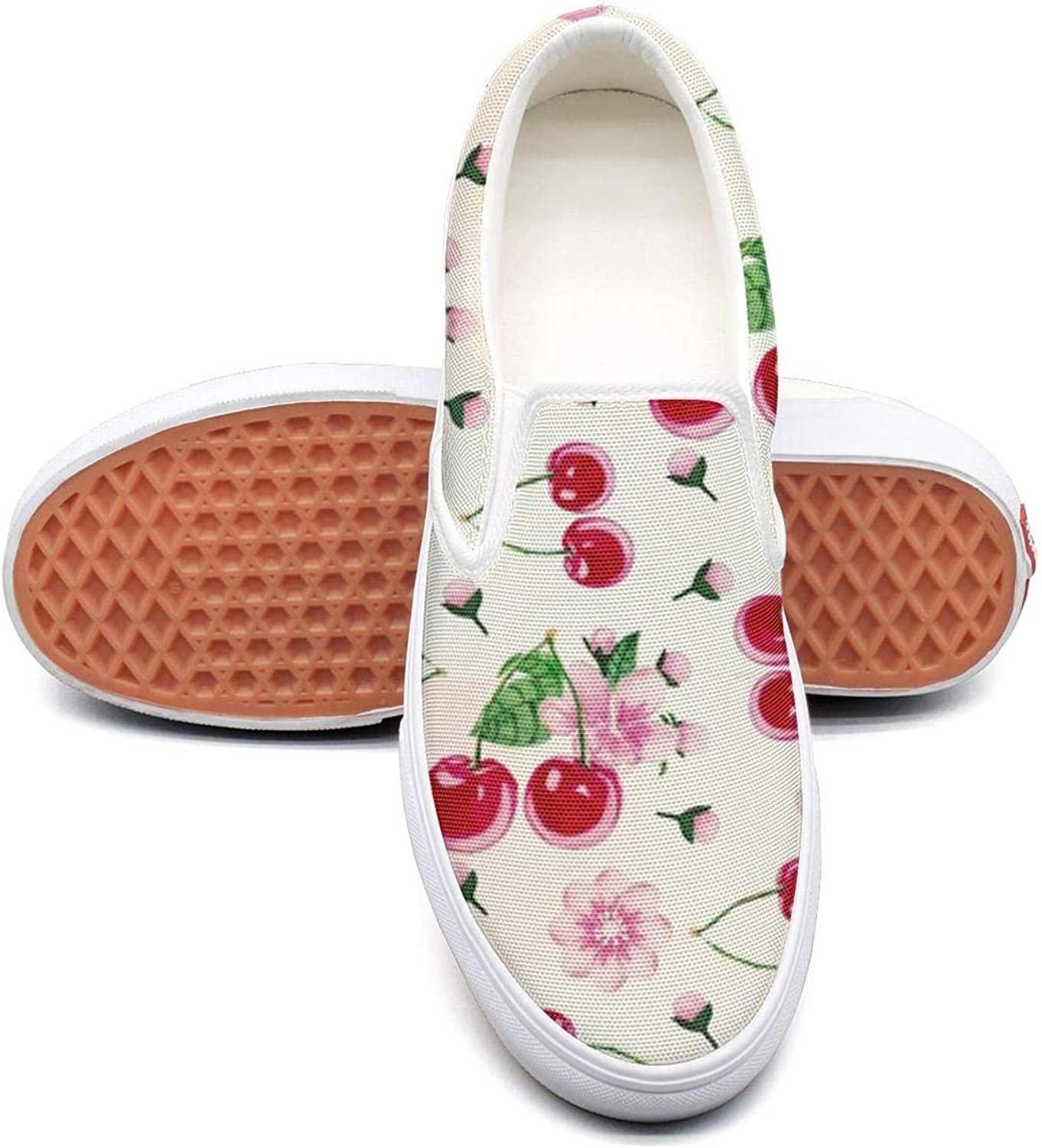 Women's Fashion shoes Cherry Art Print Comfortable Loafers Slip on Casual Walking Sneakers