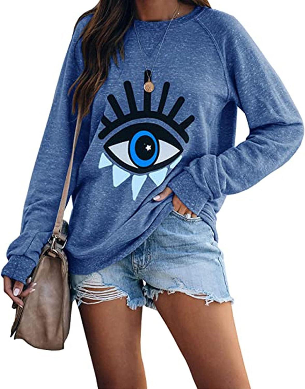 YMYDYFC Womens Evil Eye Printed Pullover Cute Graphic Shirt Crewneck Sweatshirts Long Sleeve Tunic Tops