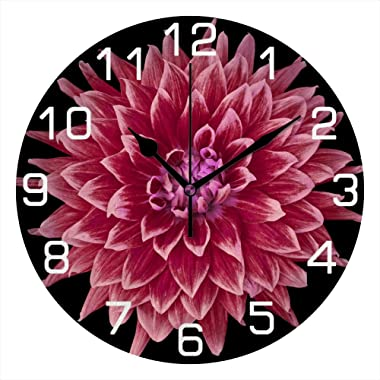 QAZPL Wall Clock Kitchen Large Clocks Burgundy Dahlia Red Silent Non Ticking Bedroom Living Room Art Decor Battery Operated H