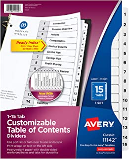Avery Customizable Table of Contents Dividers, Ready Index Printable Section Titles, Preprinted 1-15 White Tabs, 1 Set (11142)