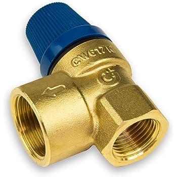 conforme con norma DIN 4753, 6 bar, hasta 75 kW, E 1//2, A 3//4 Diafragma de v/álvula de seguridad para calentadores de agua cerrados Watts