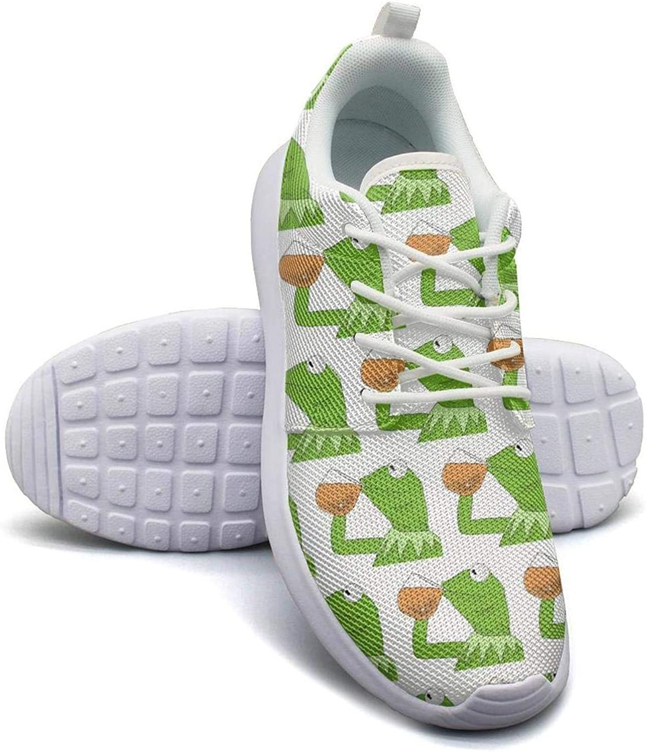 YAHTSAG Womens Roshe One Two Lightweight Funny Green Frog Sipping Tea Fashion Walking Jogging Mesh shoes