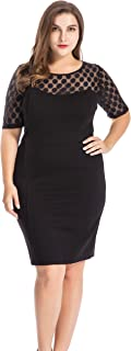 Chicwe Women's Plus Size NR Ponte Sheath Dress with Jacquard Lace Top - Knee Length Work Casual Party Cocktail Dress