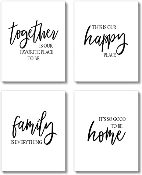 Amazon Com Brooke Vine Farmhouse Wall Decor Art Prints Set Unframed 8 X 10 Gallery Wall Living Room Family Room Kitchen Dining Room For Home Family Together Posters Prints