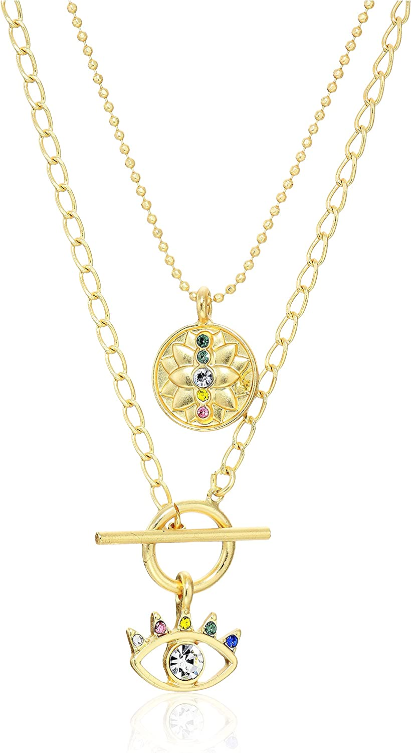 Lucky Brand Lotus and Evil Eye Pave Necklace Set, Gold