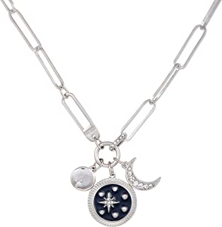GUESS Paperclip Chain Necklace with Celestial Charms