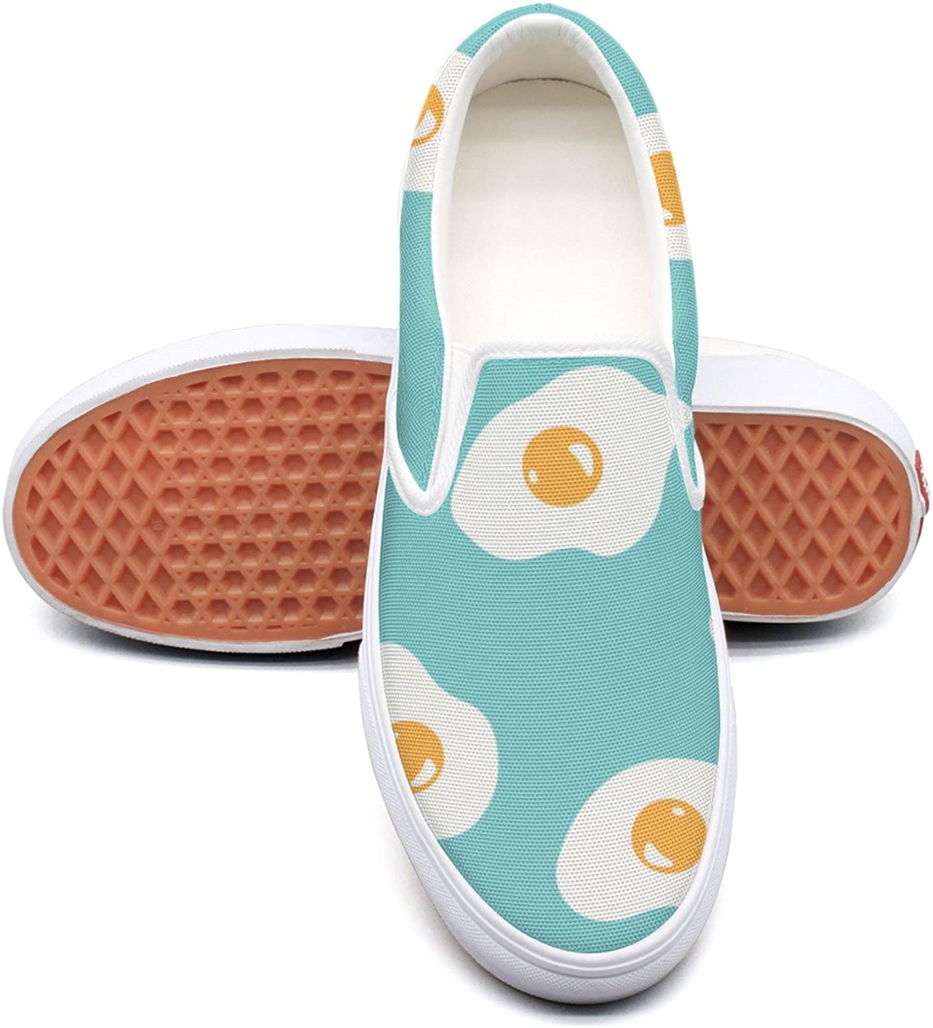 Fried Egg Repeat Womens Fashion Canvas Boat shoes Low Top Hip Hop Basketball shoes For Women Girls