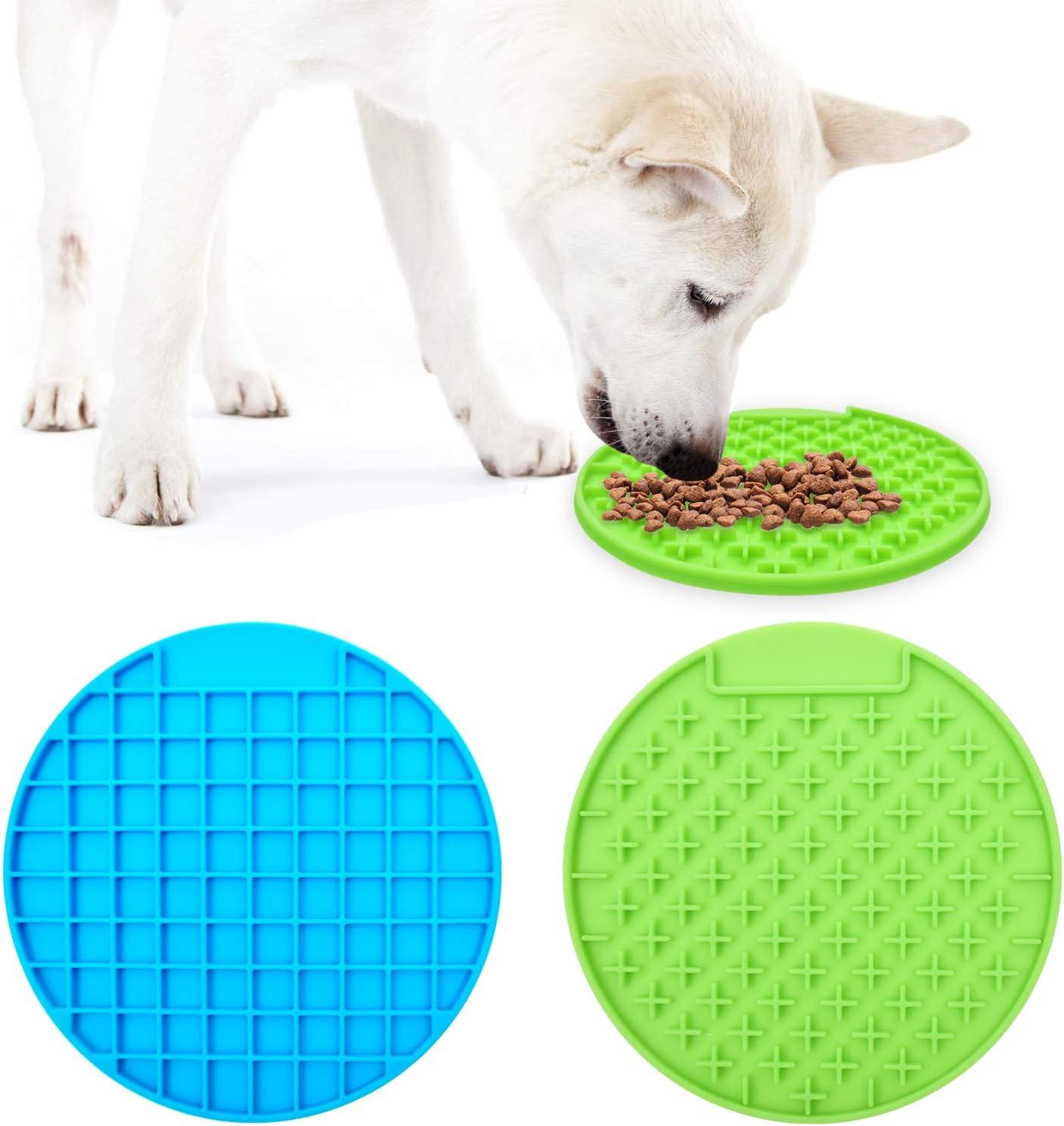 Alfombrillas para lamer para perros almohadilla para lamer con mantequilla de man/í dispositivo de distracci/ón para el ba/ño de mascotas 2 piezas azul y rojo almohadilla para lamer de silicona