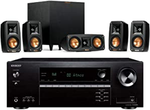 Klipsch Reference Theater Pack 5.1 Surround System Bundle with Onkyo TX-SR494 7.2-Channel 4K Ultra HD Hi-Res AV Receiver -...