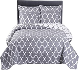 Royal Tradition Meridian Printed Microfiber Over-Sized Full/Queen 92-Inch Wide x 96-Inch Long, 3PC Quilt Set, Grey with White