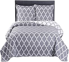 Royal Tradition Meridian Printed Microfiber Over-Sized King/California King 110-Inch Wide x 96-Inch Long, 3PC Quilt Set, Grey with White
