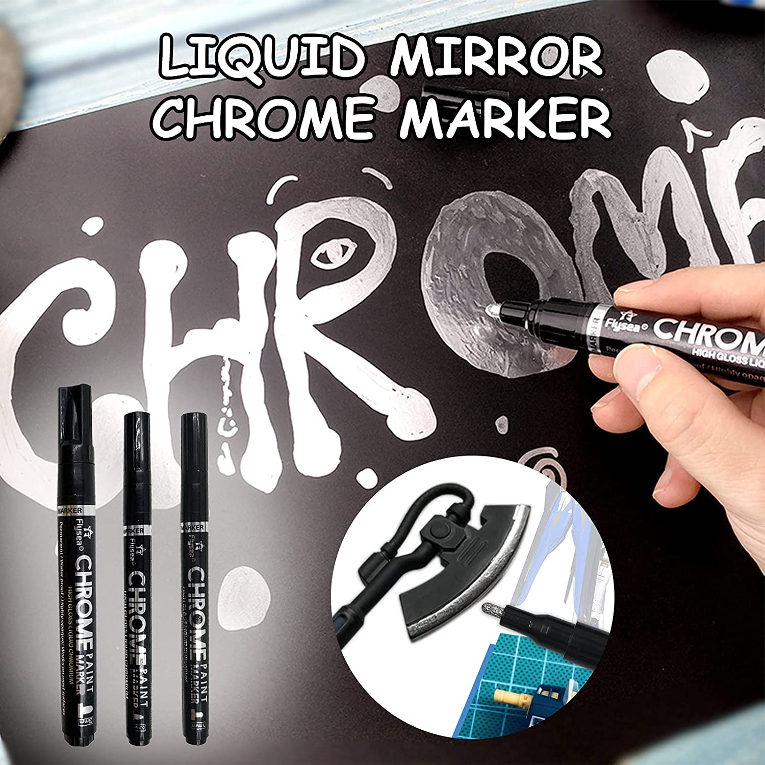 Buy Mirror Chrome Finish Silver Mirror Marker - High Gloss Mirror Pen,  Reflective Paint Metal Pen, Chrome Plated Marker - Smooth Flow,  Permanent-Last Ink, High-Covering for Smooth Surfaces (3pc) Online in  Taiwan.