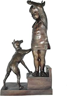 Crying Boy Playing with His Doggy Indoor/outdoor Bronze Statues Sculptures