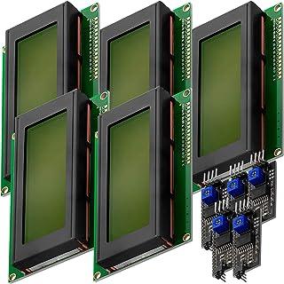 AZDelivery 5 x Modulo Pantalla LCD Display Verde HD44780 2004 con Interfaz I2C 20x4 caracteres negros compatible con Arduino con E-Book incluido!