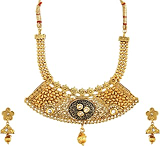 Crunchy Fashion Royal Bling Bollywood Style Traditional Indian Jewelry Kundan Necklace with Jhumka Earrings for Women