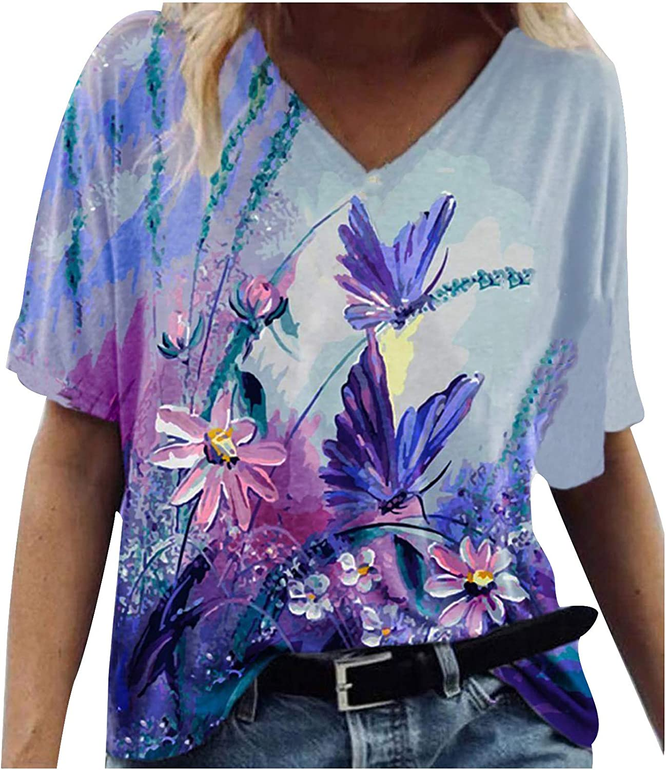 Short Sleeve T-Shirts for Women, Women's Casual Summer Graphic Tees Loose V Neck Comf Tunic Shirts Blouse Top Tee