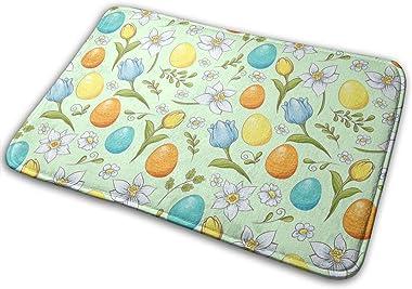 Easter Floral Eggs Carpet Non-Slip Welcome Front Doormat Entryway Carpet Washable Outdoor Indoor Mat Room Rug 15.7 X 23.6 inc