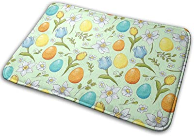 Easter Floral Eggs Carpet Non-Slip Welcome Front Doormat Entryway Carpet Washable Outdoor Indoor Mat Room Rug 15.7 X 23.6 inch