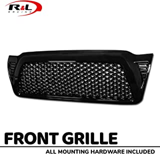 R&L Racing Glossy Black Finished Front Grill Dragon Style Mesh Hood Bumper Grille Cover 2005-2011 Compatible With Toyota Tacoma