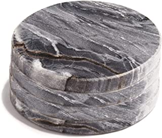 Real Marble Coasters for Drinks - Set of 4, Round Dark Grey Marble Coasters, 4 Inch Diameter, Natural Stone, Mid Century M...