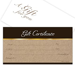 Blank Gift Certificates 25set - Sephia on Kraft Image - Comes with Free matching Envelopes - Gift Coupons,Vouchers for Holiday, Christmas,Spa,Makeup,Hair Beauty Salon,Restaurant,Small Business