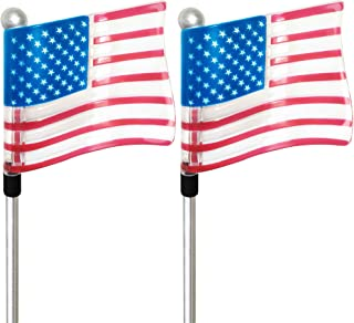 American Flag Outdoor Light Solar Garden Stakes US Patriots Army Veteran Gift Patio Cemetery Yard Lawn Backyard Christmas LED USA Post Porch House (2 Pack)