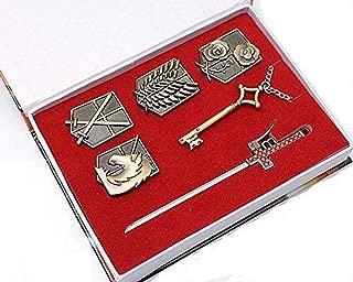 COSAUG Attack on Titan Shingeki No Kyojin Badge Weapons Key Necklace Pendant Set (Molded)