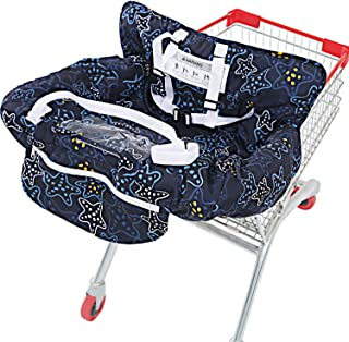 UNKU Shopping Cart Cover for Baby, 2-in-1 High Chair Cover, 360° Protection with Soft Cotton and Beautiful Pattern, Machine Washable, Wonderful Gifts for Mom, Star Night Black