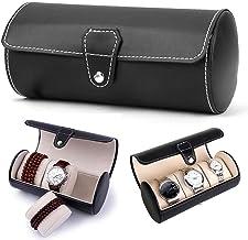 JFXONE Luxury 10 Slot Men Watch Box Leather Display Case Organizer Top Glass Jewelry Storage (3 Slot)