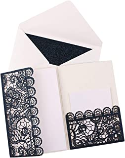 Driew Wedding Invitations with Envelopes, 12 pcs Laser Cut Invitation with RSVP Cards for Wedding Engagement Bridal Baby Shower Business Event Shimmer Elegant Chic Rustic (Style#4)