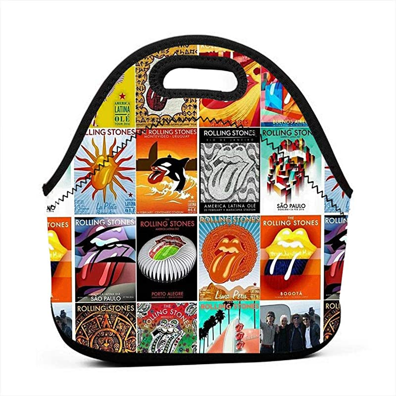 Neoprene Lunch Bag Rolling Paint It Black Stones Thick Reusable Insulated Thermal Lunch Bag Small Waterproof Box Carry Case Handbags Tote With Zipper For Outdoor Travel For Womens Kids Girls Men