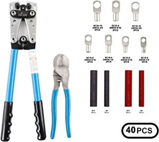 Sanuke Battery Cable wire Lug Crimping Tool for AWG 8-1/0 Electrical Lug Crimper with Cable Cutter and 18PCS Lugs Tubular Ring Terminal Connectors 20PCS 2:1 Heat Shrink Tube Assortment