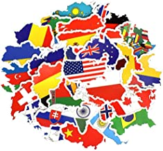 Honch Vinyl National Flag Country Map Stickers Pack 50 Pcs Country Flag Decals for Laptop Car Suitcase Water Bottle Helmet Truck