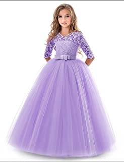 6544350414ef0 NNJXD Filles Pageant Broderie Robe de Bal Princesse Robe de mariée