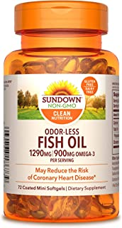 Fish Oil by Sundown, Dietary Supplement, Omega 3, Supports Heart Health, Non-GMO, Free of Gluten, Dairy, Artificial Flavors,1290 Mg, 72 Coated Mini Softgels