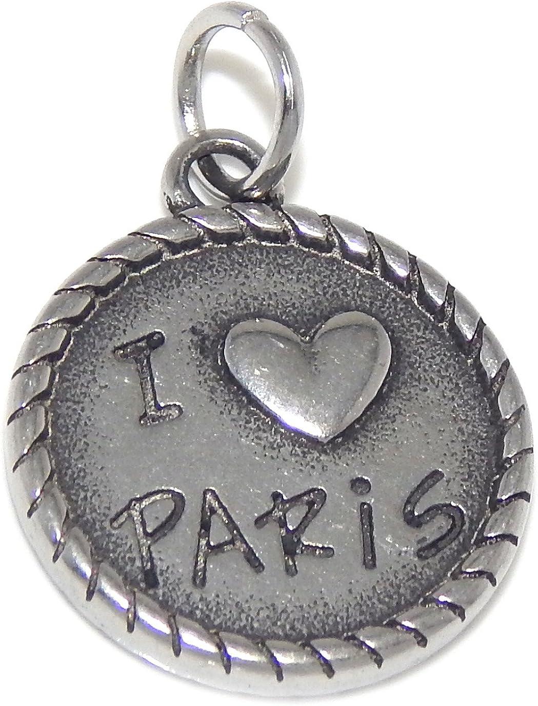 ICYROSE Stainless Steel Dangling I Love Paris/Eiffel Tower Charm Bead 098 for European Snake Chain Bracelets