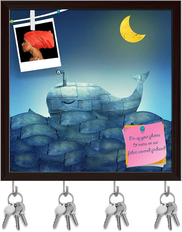 Artzfolio Mechanical Whale Key Holder Hooks   Notice Pin Board   Dark Brown Frame 20 X 20Inch