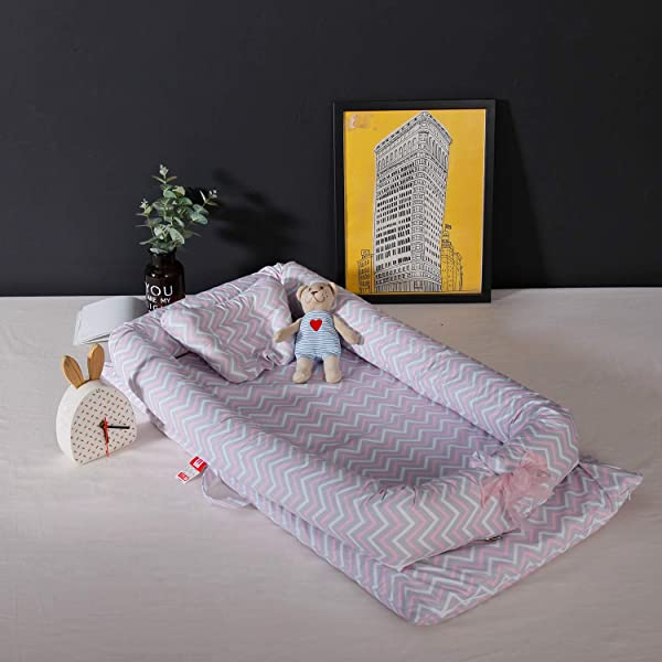婴儿躺椅婴儿摇篮床 Co 睡觉婴儿床 100 棉透气便携式婴儿床卧室和旅行 0 24 个月