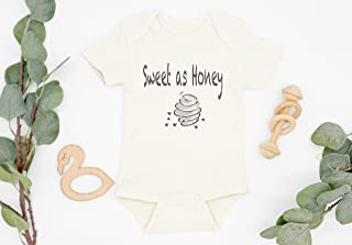 Sweet As Honey Bodysuit, baby girl clothes boho, baby shower gift, cream, natural, organic baby clothes, infant girl outfit, honey baby