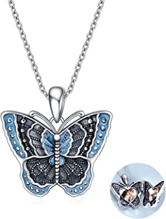 POPKIMI Butterfly Locket Necklace for Women Two Picture Pendant Jewelry Best Gifts for Women Girl
