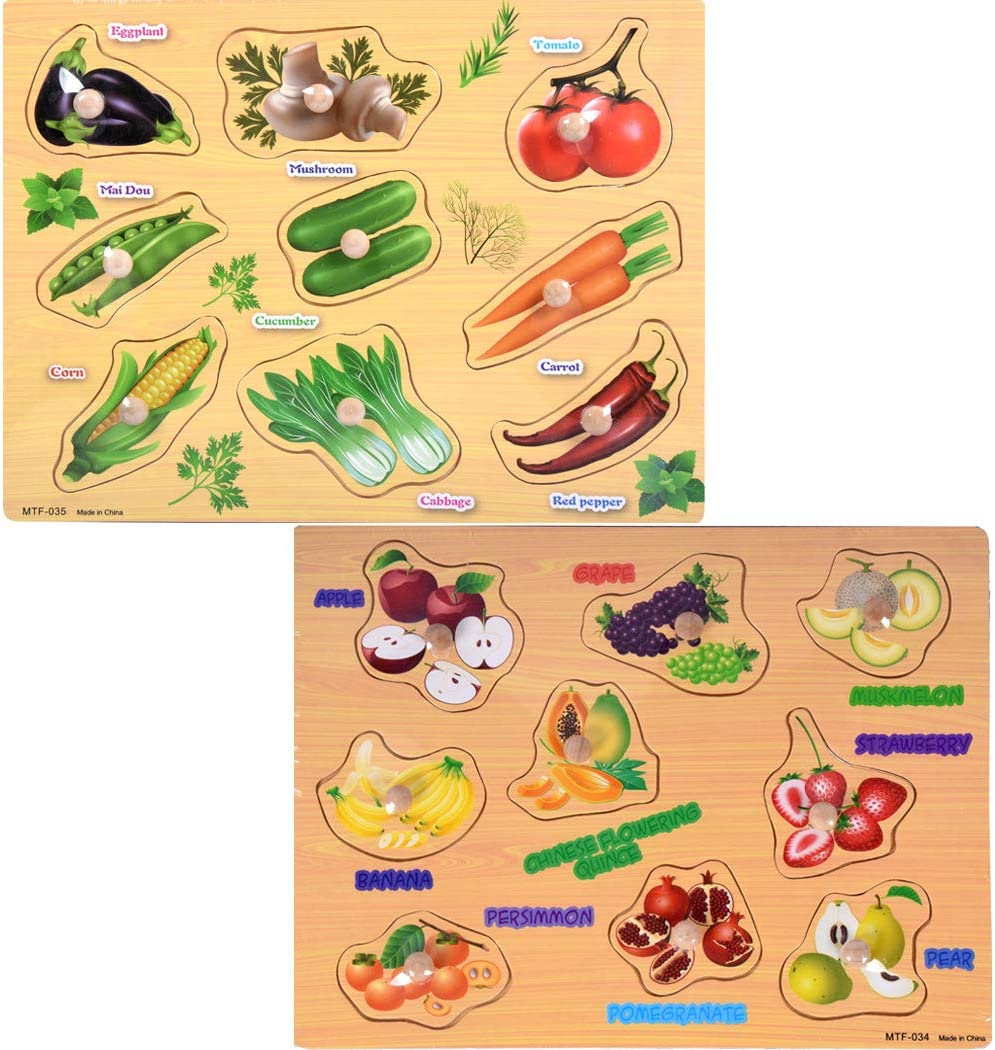 SIPLIV Wooden Pegged Puzzles Set for Board Department store Learning Max 63% OFF 2-5
