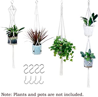 Handmade Cotton Rope Woven Macrame Plant Hangers Hanging Plant Holder Flower Pot Hangers for Indoor Outdoor Wall and Ceiling Boho-Chic Style Home Decor
